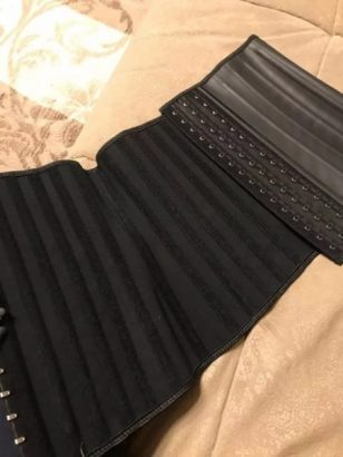 Steel boned latex waist shaper