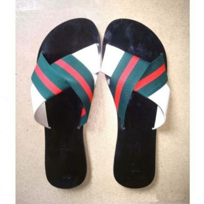 JGeTters Contrast Striped Ladies Flat Slippers – Green/White/Red