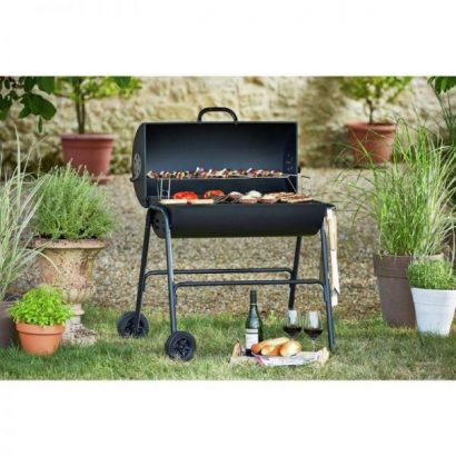 Charcoal Oil Drum BBQ – Cover, Utensils & Adjustable Grill