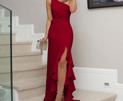 Women Formal Ball Gown Evening Long Dress One Shoulder Ladies Classic Party Sexy Slim Vintage Prom M