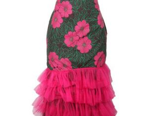 Ankara With Mesh Skirt – Green/Pink