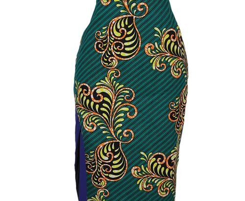Ladies Ankara And Crepe High Waist Pencil Skirt With Front Slit – Multi