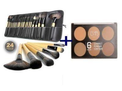 Ushas 6 Colour Powder Pallet + 24 Brush Set