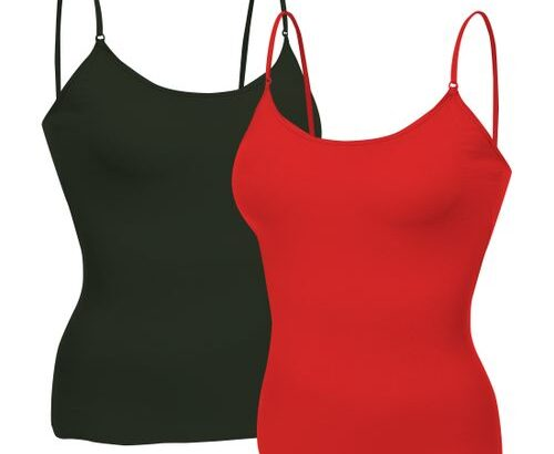 2pcs Camisole / Tank Top – Black, Red