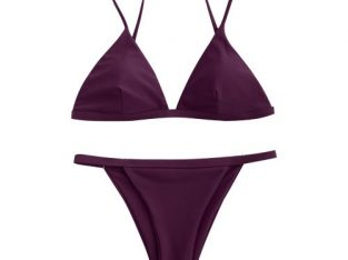Zaful Bikini Spaghetti Strap Low Waisted Swimwear-WINE RED