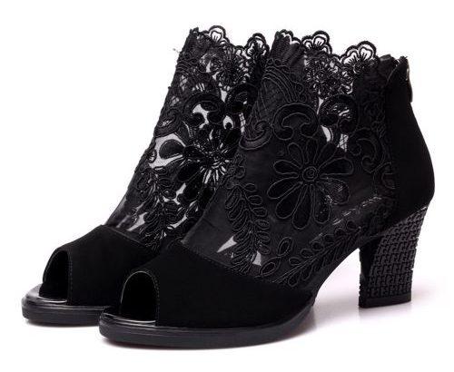 Mesh High Heels Lace Open Toe Sandals-Black