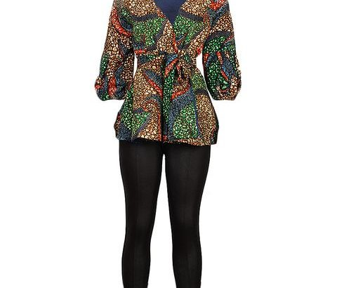 Stoned Ankara Wrapping Peplum Top And Black Leather Pant