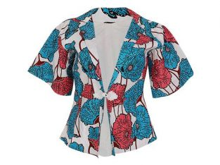 Floral Detail Ankara Jacket With Stone