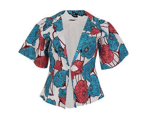 Floral Detail Ankara Jacket With Stone