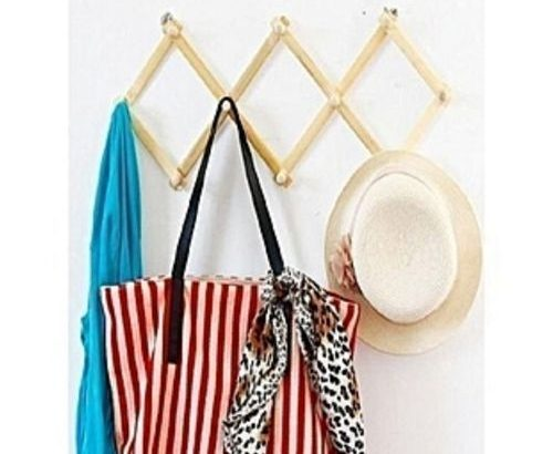 Collapsable Polished Wooden Wall Bag Hanger