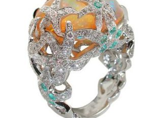 RAN Trend Retro Pentagram Flower Studded Zircon Ladies Ring Jewelry