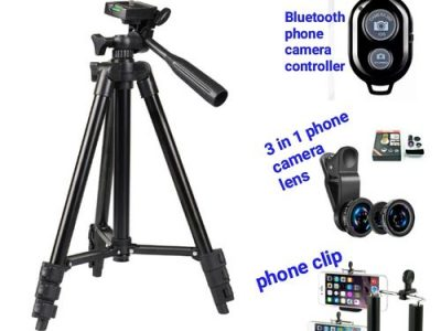 Tripod Stand With Phone Lens, Phone Clip & Bluetooth Shutter