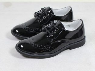 Children Shoes For Boys Lace Up Brogues Shoe-Black