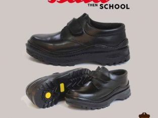 ata Black Velcro Leather Boys Shoe