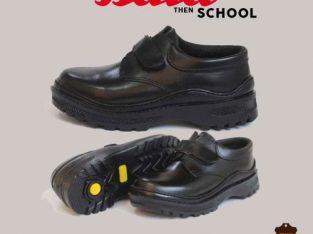 ata Black Velcro Leather Boys Shoe