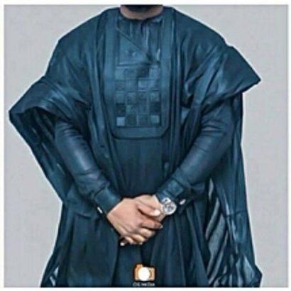 Complete Men Agbada Wear Blue Long Sleeve