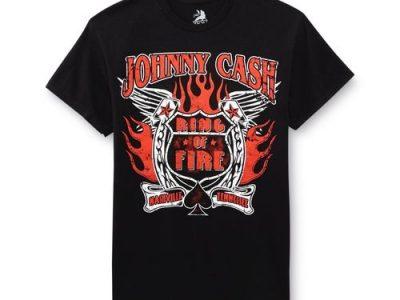 Men T Shirt Bravado Johnny Cash Ring Of Fire Rock Men T-Shirt Nwt Rocker Printed T Shirts
