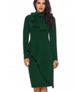 Jade Green Peplum Style Bow Dress
