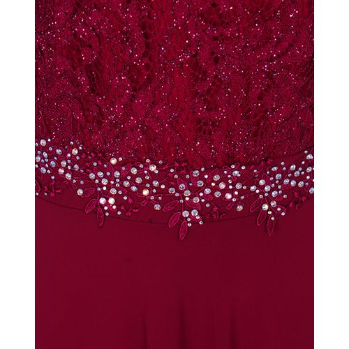 Delvina Female Maxi Dinner Gown With Stones And Glitters – Wine