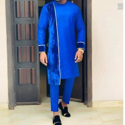 Men's Senator-Royal Blue With Asymmetry Design+Suede Details