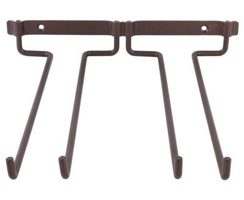 Hanging Metal Wine Cup Rack Bar Double Stemware Glass Bottle Goblet Inverted Holder