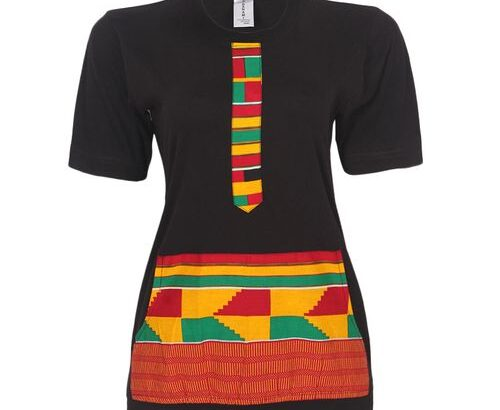 Danami Female Ankara Designed T Shirt With Pocket-