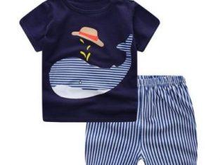 Baby Clothes Sets Summer Fashion Lion T-shirt + Navy Shorts