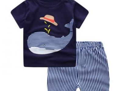 Baby Clothes Sets Summer Fashion Lion T-shirt + Navy Shorts