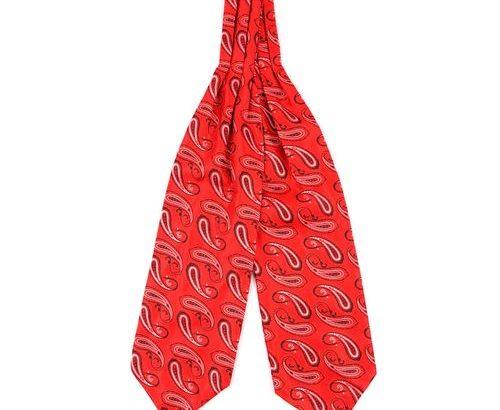 David Wej Red Ascot Tie