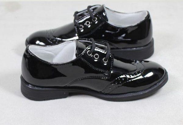 Children Shoes For Boys Lace Up Brogues Shoe-Black