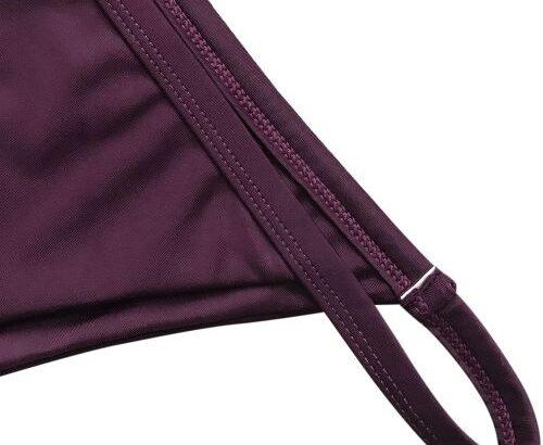 Zaful Bikini Spaghetti Strap Low Waisted Swimwear-WINE RED