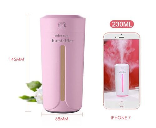 LED Air Humidifier Ultrasonic Cool Mist Purifier USB Rechargeable Home Car 230ML