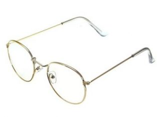 Retro Vintage Oval Gold Eyeglass Steel Legs Clear Full-Rim Frame Spectacles