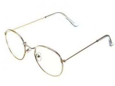 Retro Vintage Oval Gold Eyeglass Steel Legs Clear Full-Rim Frame Spectacles