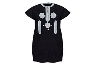 Men Danshiki Black Colour White Embroidery