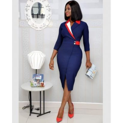 High Quality Beautiful Ladies Gown Navy Blue