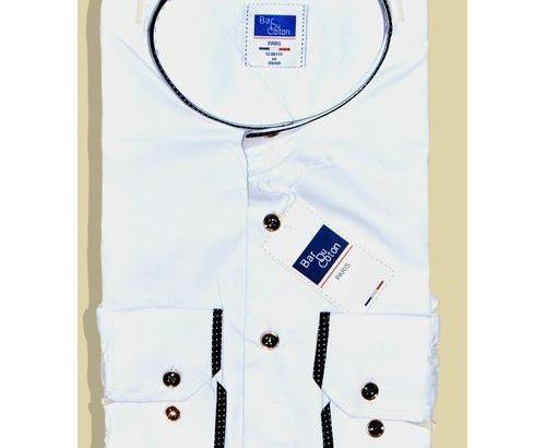 Bar Du Coton High Quality Men's Shirt, Bishop Collar Men Business White Shirt