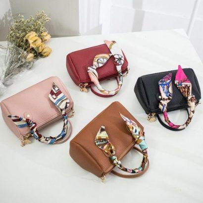 Scarf Mini Women Boston Handbag PU Leather Pillow Pack Sling Shoulder Crossbody Messenger Bag Small