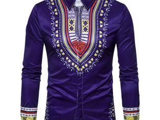 National Style Totem Print Men's Long Sleeve Shirt-Purple