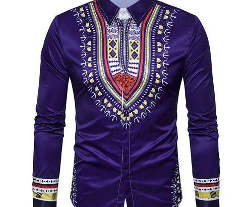 National Style Totem Print Men's Long Sleeve Shirt-Purple