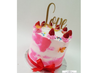 Cream cake Pink Flutters