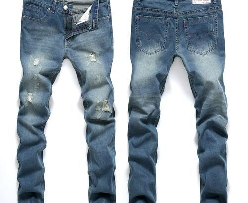 Men's Tapered Jeans Trousers Jeans Pants Men Denim Pants Male Ripped Hole Jeans