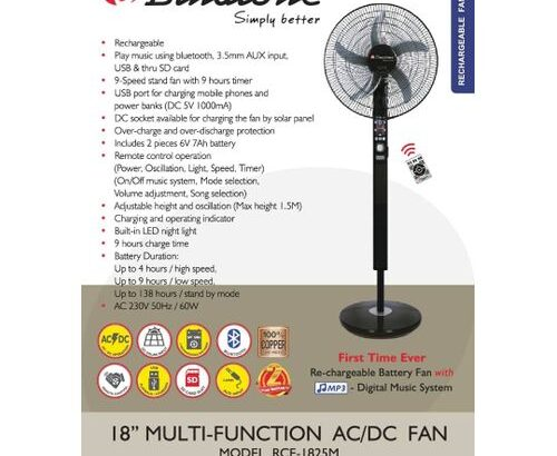 Binatone Music Rechargeable Fan 18″ With Remote Control RCF-1825