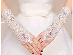 Women' Wedding Lace Gloves Bridal Fingerless Tulle Gloves Crystal Sequins Wrist Cuffs