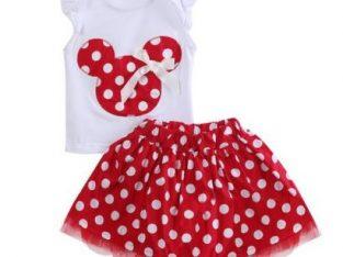 Toddler Baby Girls Kids Cartoon Dress Dot Clothes Set Red