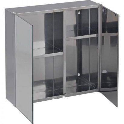 2 Door Mirrored Stainless Steel Bathroom Cabinet