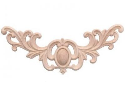 Unpainted Flower Wood Oak Carved Corner Onlay Applique Furniture Home Door Decor