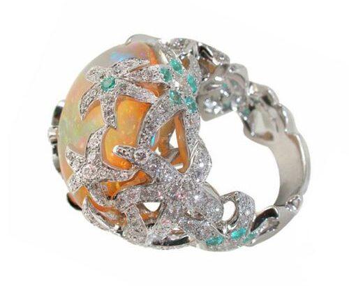 RAN Trend Retro Pentagram Flower Studded Zircon Ladies Ring Jewelry