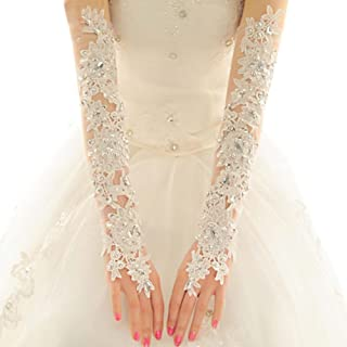 Women' Wedding Lace Gloves Bridal Fingerless Tulle Gloves Crystal Sequins Wrist Cuffs