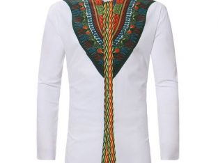 AFankara Men African Dashiki Long Shirt Ankara Style – White